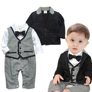 Ensemble de vêtements Tout-petit bébé garçon Bowtie Gentleman Manteau Pa