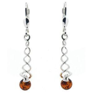 Boucles d/'oreilles en argent sterling ovale ambre Cognac avec stud tourbillon