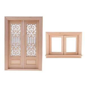 Maison de poupées en bois classique 6 Panneau Porte Intérieure Builders À faire soi-même 1:12 Accessoire