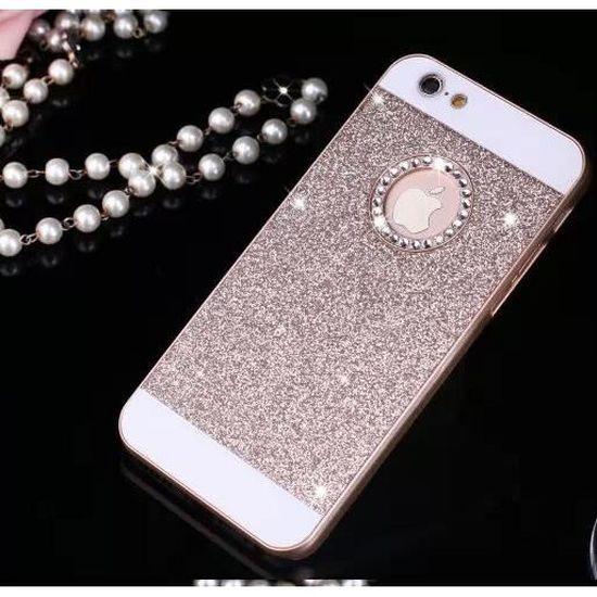 Coque iphone 5 5S Paillettes Or Bling Bling Diamant Etui Housse Bumper