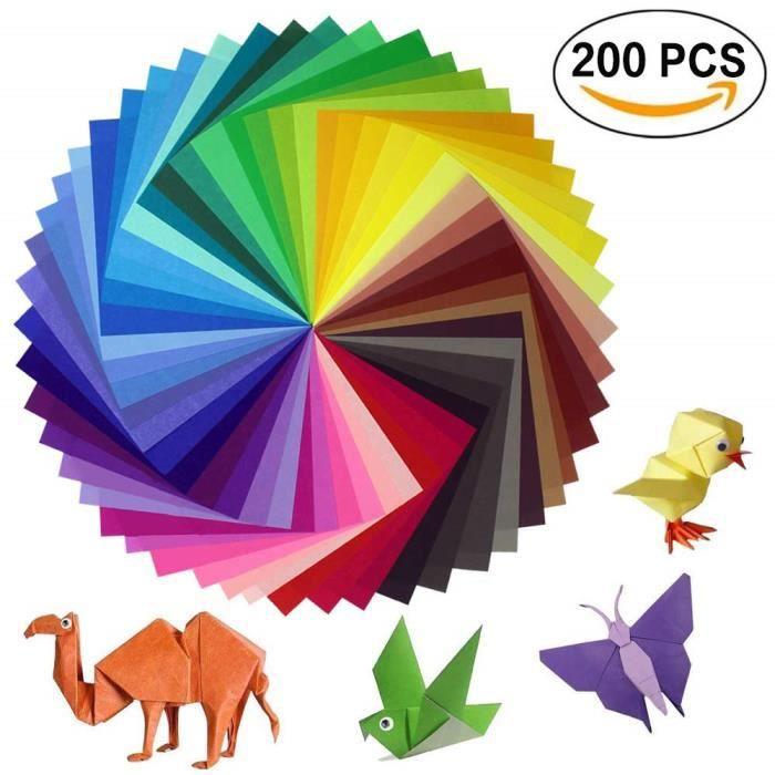 Lot de 200 feuilles de papier origami 2 tailles, 50 couleurs vives recto pour travaux manuels, lot de 100 yeux mobiles