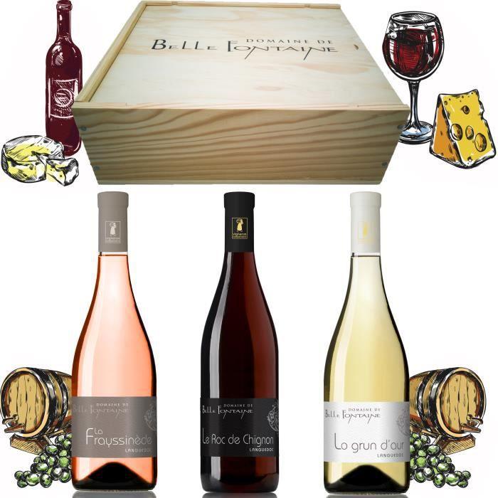 Coffret Vin Cadeau - Dégustation Vin Languedoc - Domaine De Bellefontaine - Caisse 3 Bouteilles - Bouteille Vin Rouge Blanc Rosé -