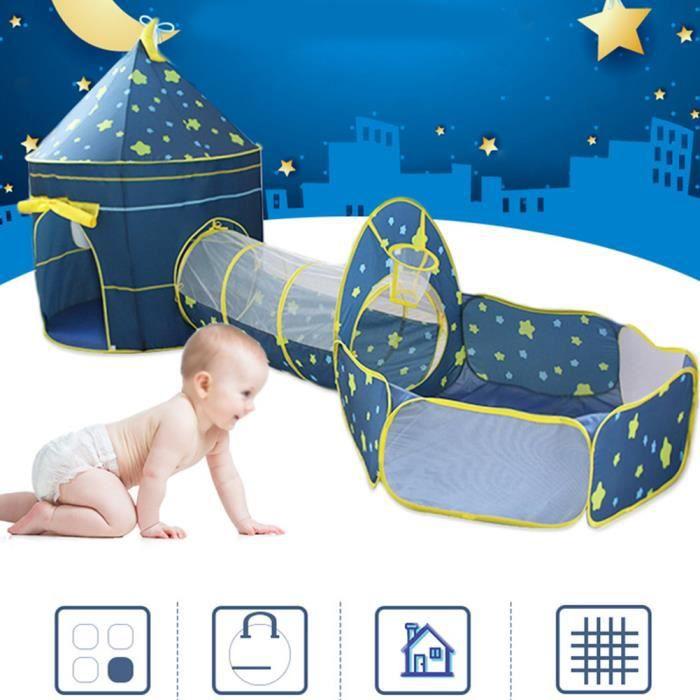 3-en-1 enfants piscine à balles de tente tunnel rampant ciel étoilé bébé enfant jouant maison de tente -FOE