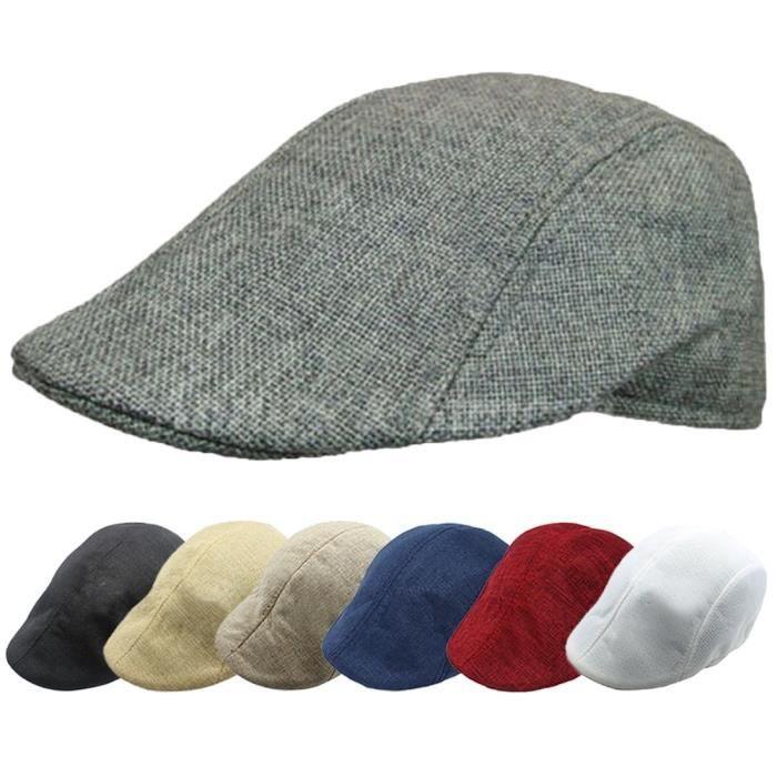 Merci Bleu foncé Homme Mode Rétro Linen Newsboy Golf Beret Flat Ivy Hat Cap Countryside Style Cap Hat Bleu foncé