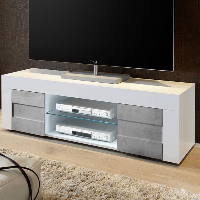 Banc TV blanc laqué et effet béton TUNIS 2 140 cm