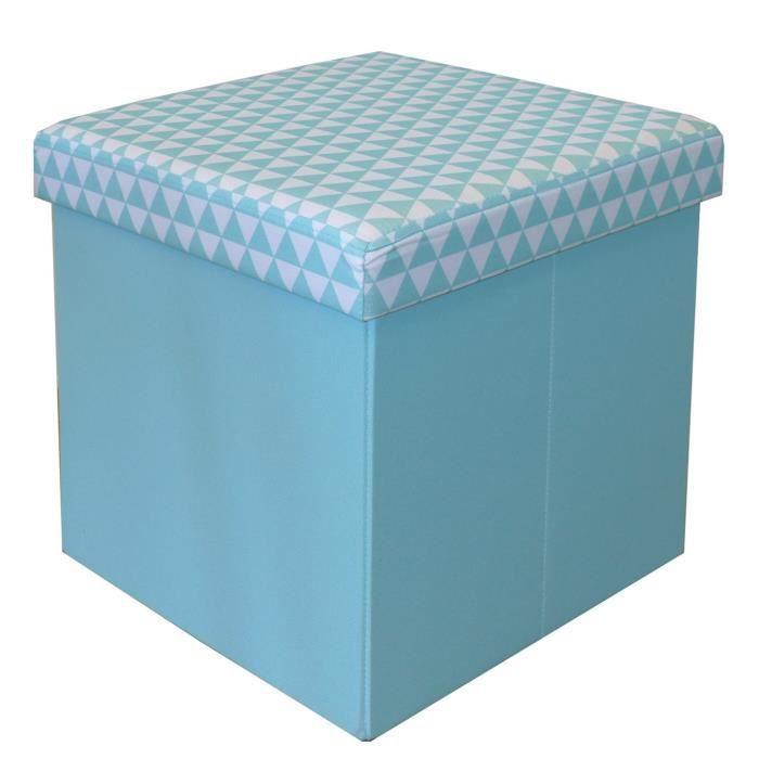 COTTON WOOD Pouf Coffre pliable Oxford - 35 x 35 x 35 cm - Imprimé Bleu aqua