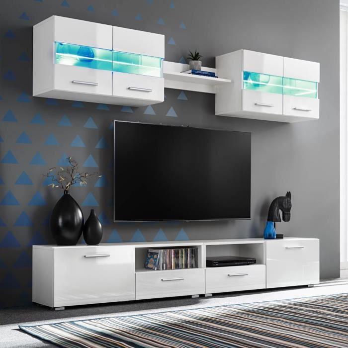 JTQDGT® Ensemble Meuble mural TV 5 pcs lumières LED Ensemble de séjour Meuble Télé 100 x 30 x 34 cm Haute Brillance XIKSAR