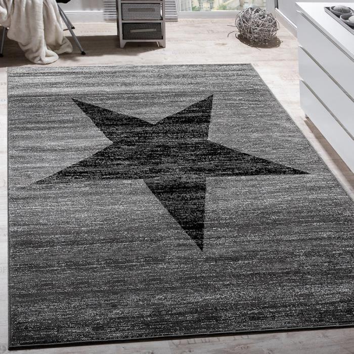 Tapis Design Étoile Motif Moderne Tendance Poils Ras Chiné En Gris Noir [120x170 cm]