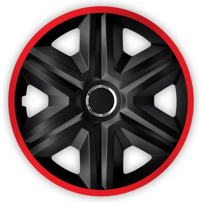 Enjoliveurs 15 pouces 4 pcs NRM FAST LUX noir rouge