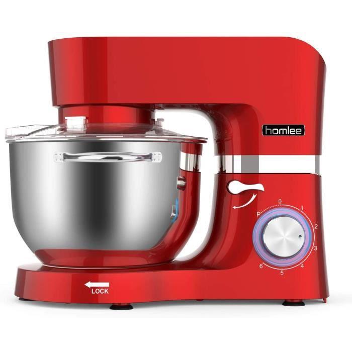 Homlee 1500W Robot pâtissier, Robot pétrin, Robot mélangeur, Pétrisseur, Robot de cuisine multifonction Faible bruit avec Bol en Aci