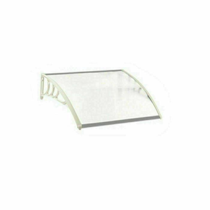 [Soultodaydeals] Marquise de Porte d'entrée en Polycarbonate Transparent anti UV 120cm X 75cm,Cadre blanc Pieds