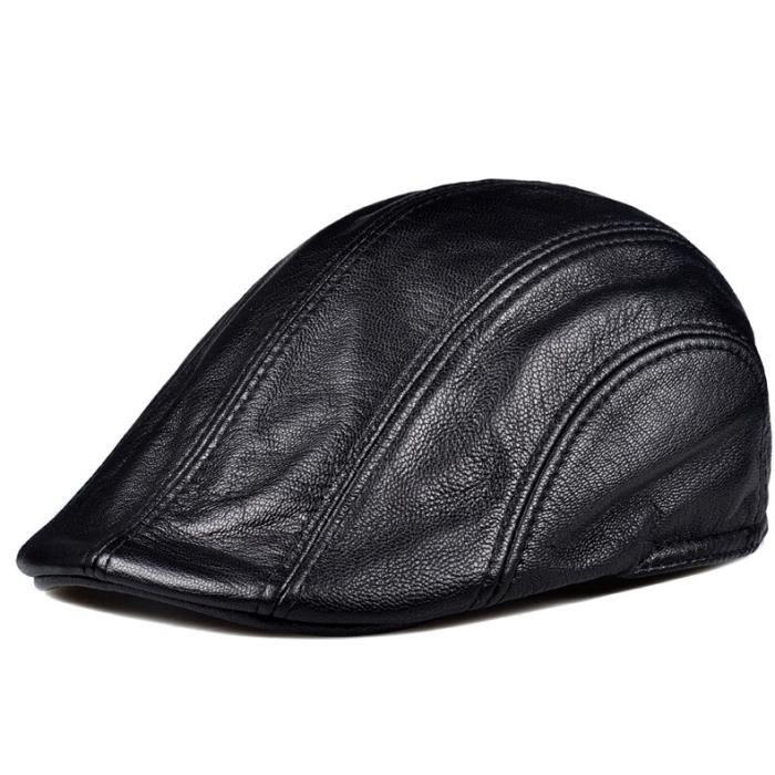 Bonnet,Béret Vintage Chic en cuir véritable pour femmes et hommes, casquette de marque, couleur noir et - Type black-XXL(59cm60cm)