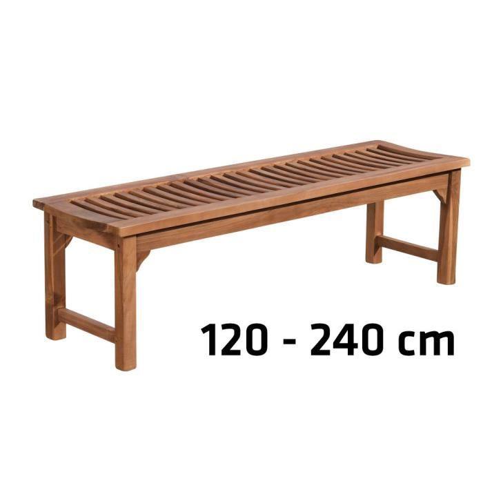 CLP Banc de jardin en bois de teck robuste HAVANA V2, sans dossier (jusqu´à 8 tailles au choix)