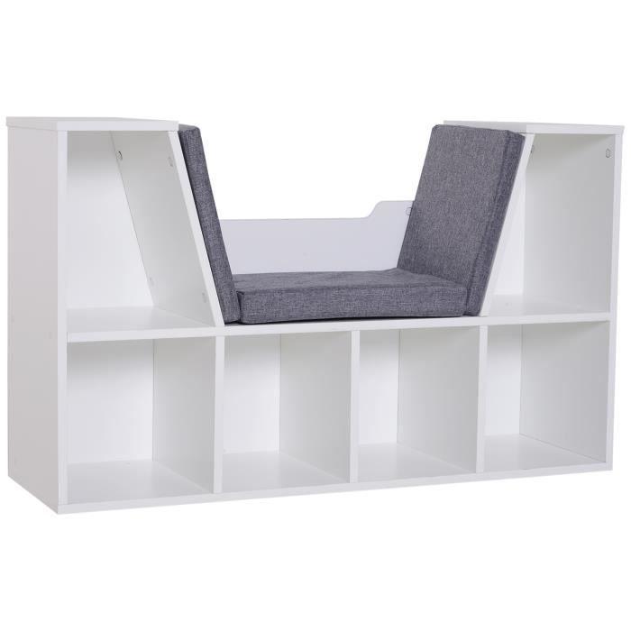 Bibliothèque banc 2 en 1 design contemporain 6 casiers 3 coussins fournis 102L x 30l x 61H cm blanc gris chiné 102x30x61cm Blanc