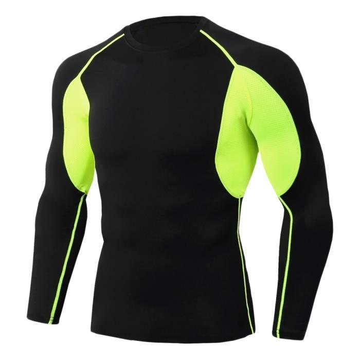 Tee Shirt De Sport Pour Homme Manches Longues Haut De Compression Base Layer Séchage Rapide TC83 S