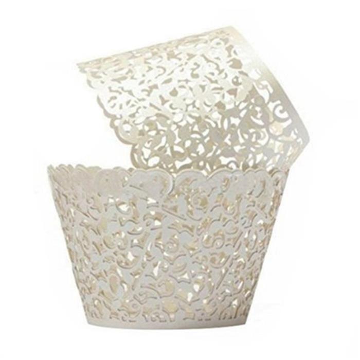 50Pcs Caissettes Cupcake en Papier Moules Décoratifs pour Gâteaux Muffins Motif de Vigne de Dentelle -Blanc@W2313