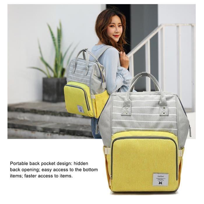 Jaune mode couches grande capacité multi-fonction sac de soins enfants voyage rayé sac à dos bébé couche-culotte sac biberon