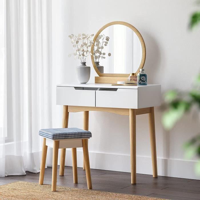 Coiffeuse design, miroir, 2 tiroirs coulissants, tabouret, 80 x 40 x 128 cm, pieds en bois, SONGMICS