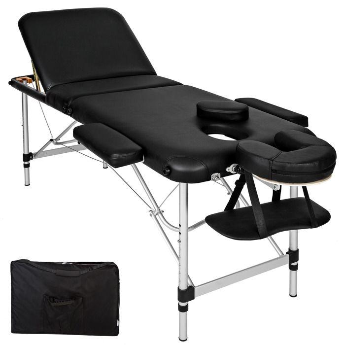 TECTAKE Table de massage Pliante Bois 3 Zones Cadre en Aluminium Noir + 1 Housse