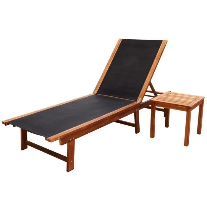 Chaise longue avec table Bois d'acacia solide et textilène-SPR