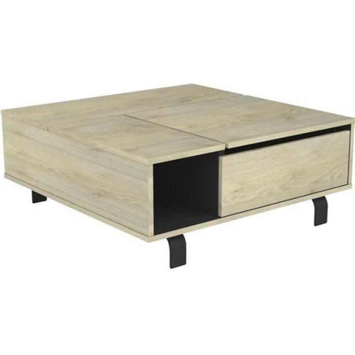 Table basse carrée relevable Chêne clair/Noir mat - FOREST - L 90 x l 90 x H 37