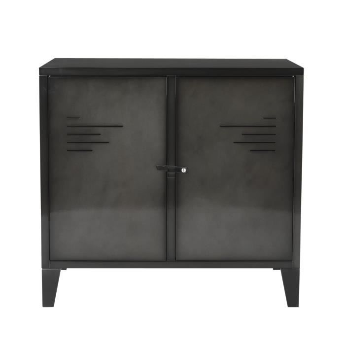 lofter commode 2 portes en m tal gris achat vente. Black Bedroom Furniture Sets. Home Design Ideas