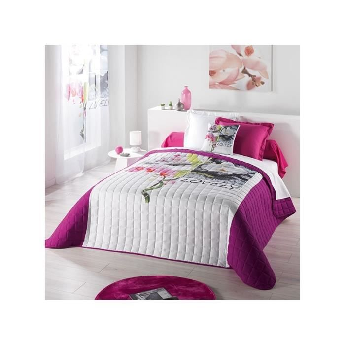 couvre lit matelass 220 x 240 cm rose et blanc boutis pour lit 2 personnes achat vente. Black Bedroom Furniture Sets. Home Design Ideas