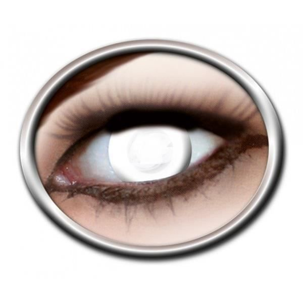 pair lentille couleur Blanche blind lens white vampire contact zombie aveugle