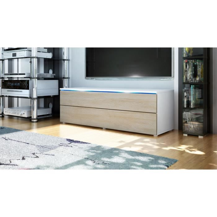 buffet enfilade blanc et bois brute 109 cm achat vente meuble tv buffet enfilade blanc et bo. Black Bedroom Furniture Sets. Home Design Ideas