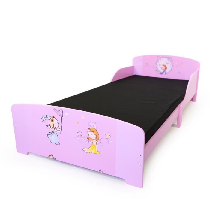 lit enfant motif princesse en mdf 90x200 cm achat. Black Bedroom Furniture Sets. Home Design Ideas