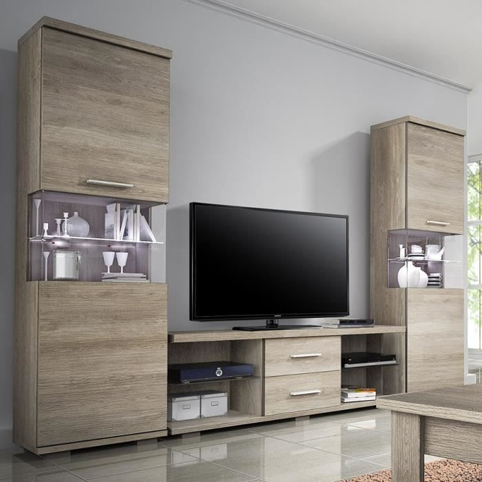 ensemble meubles tv couleur ch ne vieilli blanchi contemporain milli achat vente living. Black Bedroom Furniture Sets. Home Design Ideas
