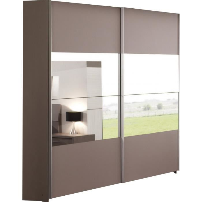 armoire 2 portes coulissantes avec miroir coloris basalte gris achat vente armoire de. Black Bedroom Furniture Sets. Home Design Ideas