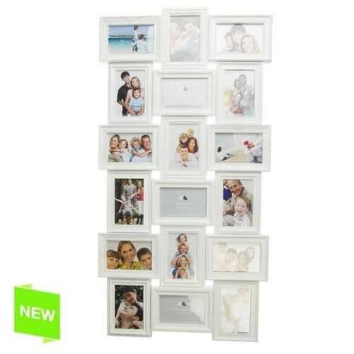 cadre photo multiple 18 photo blanc achat vente cadre photo les soldes sur cdiscount. Black Bedroom Furniture Sets. Home Design Ideas