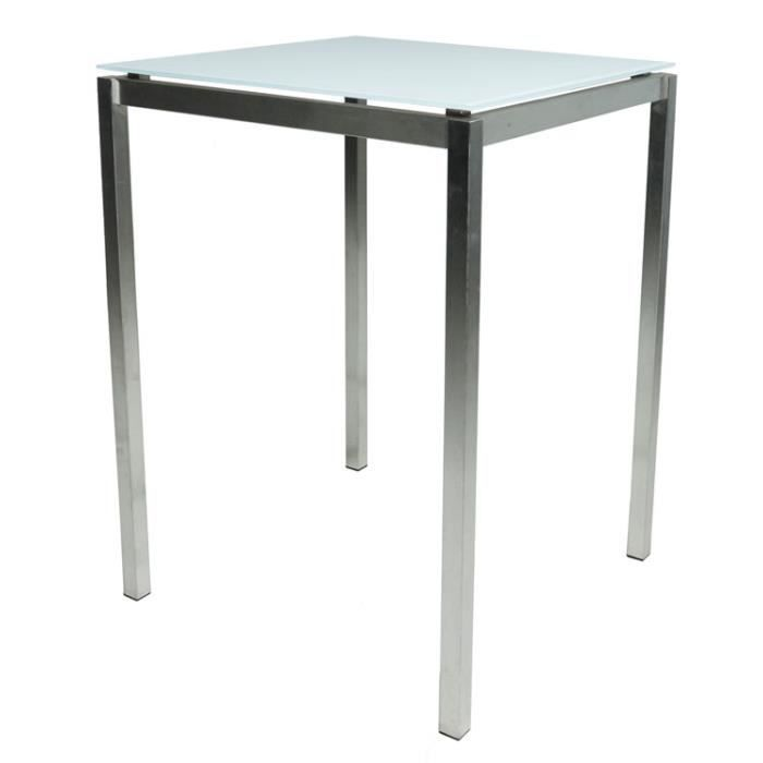 Table Haute Carree De Jardin Inox Verre 80x80 Cm Cilaos Achat