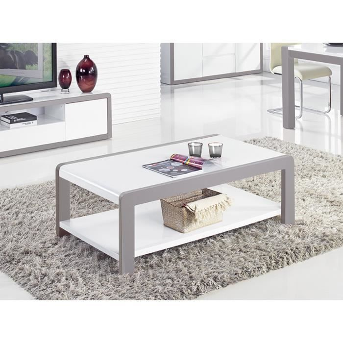 Table Basse Laquee Juliana Blanc Gris 43 Achat Vente Table