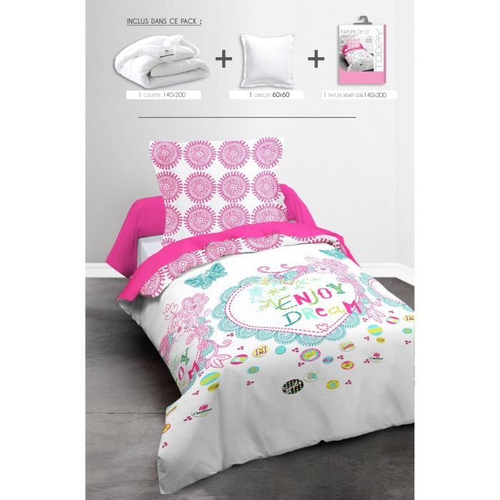 today pack linge de lit enfant heart girl 1 couette 140x200cm 1 oreiller 60x60cm 1 parure. Black Bedroom Furniture Sets. Home Design Ideas