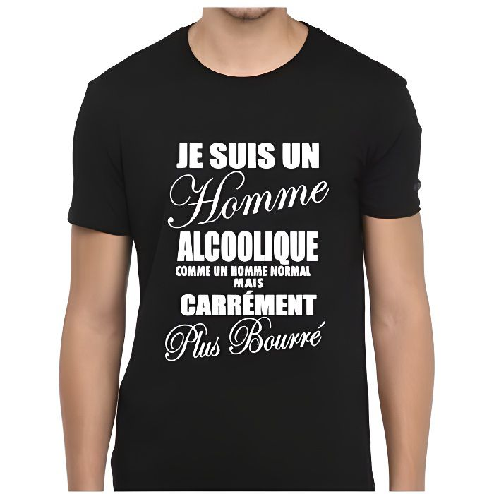 tee shirt humour je suis un homme alcoolique t shirt fun id e cadeau marrante humoristique. Black Bedroom Furniture Sets. Home Design Ideas