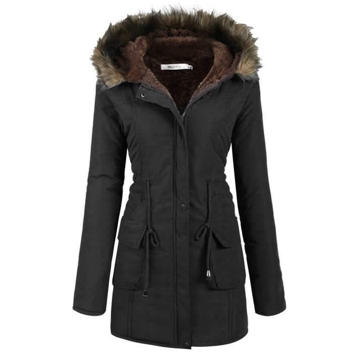 manteau polaire femme doubl parka chaud hiver drawstring taille noir achat vente manteau. Black Bedroom Furniture Sets. Home Design Ideas