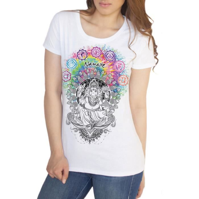 t shirt blanc femme ganesh namaste om aum jade flamme bouddha m ditation tie dye imprimer ts656. Black Bedroom Furniture Sets. Home Design Ideas
