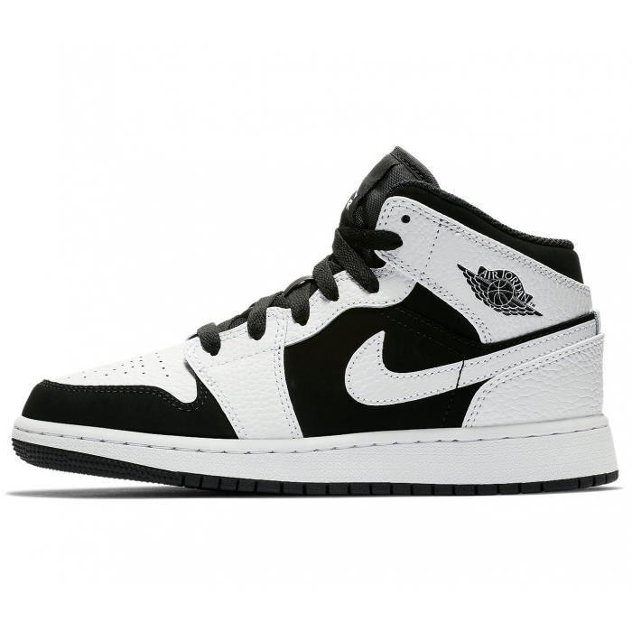 Air Jordan - Baskets Jordan 1 Mid Enfants (GS) - 554725 Blanc ...