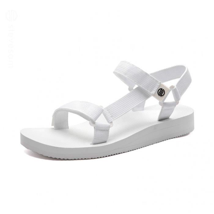 Nu à Mode de Bout Blanc Randonnée Scratch Sports Été Ouvert Dames Femme Voyager Chaussures Réglable pieds Sandales Velcro Sandales BoCdxre