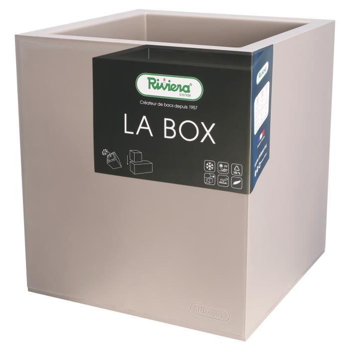 JARDINIÈRE - BAC A FLEUR RIVIERA Bac à rétention d'eau La Box - 40 x 40 cm