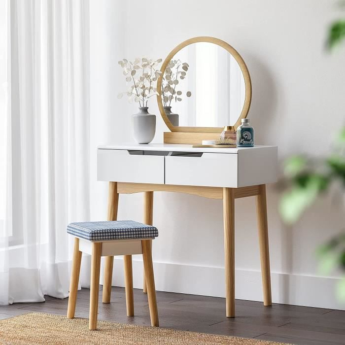 songmics coiffeuse table de maquillage scandinave miroir ovale moderne tabouret housse lavable. Black Bedroom Furniture Sets. Home Design Ideas