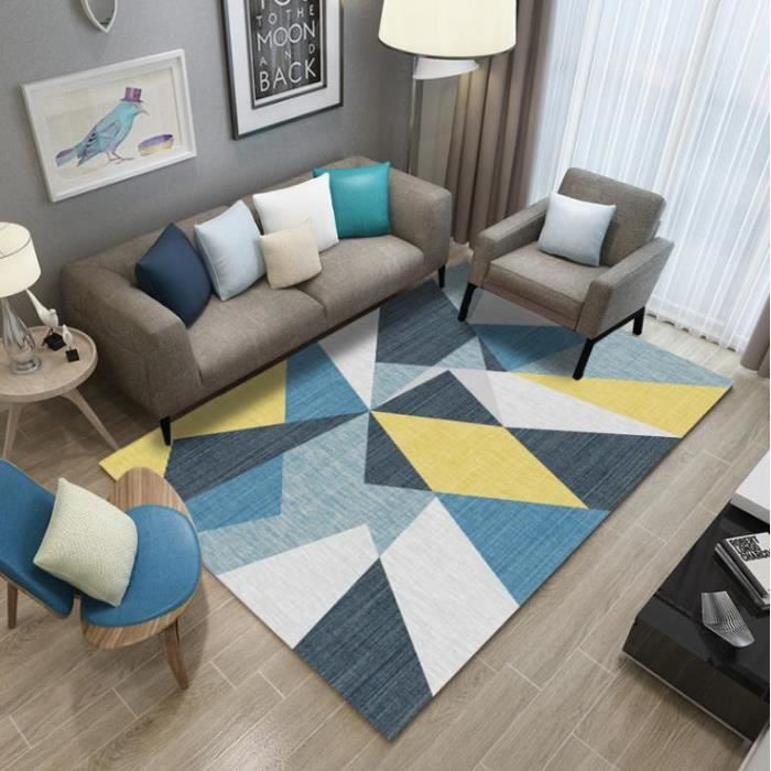 td tapis maison modele geometrique bleu jaune bla