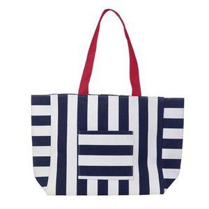SERVIETTE DE PLAGE Beco sac de plage en coton rayé bleu foncé/blanc f