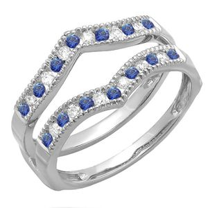 BAGUE - ANNEAU Bague Femme 18 ct 750-1000 Or Blanc Diamants & Ble