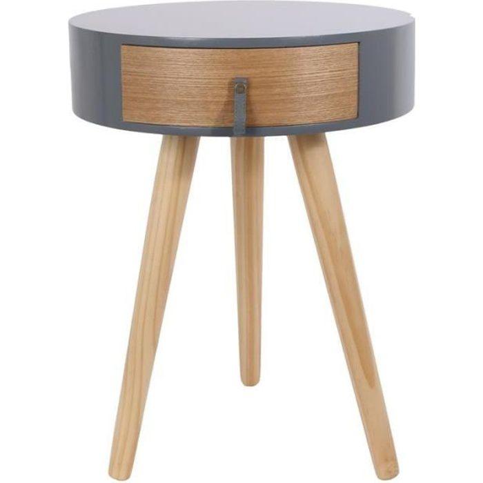 Table de chevet ronde en bois avec tiroir - Nora - D 34,5 x 47 cm - Gris Beige