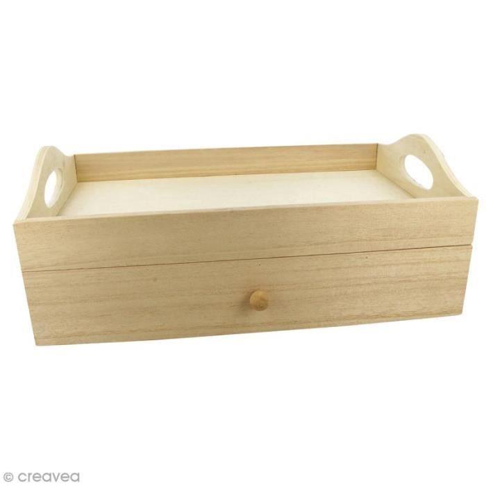 Plateau rectangulaire à tiroir en bois brut - 32 x 20 x 12 cm