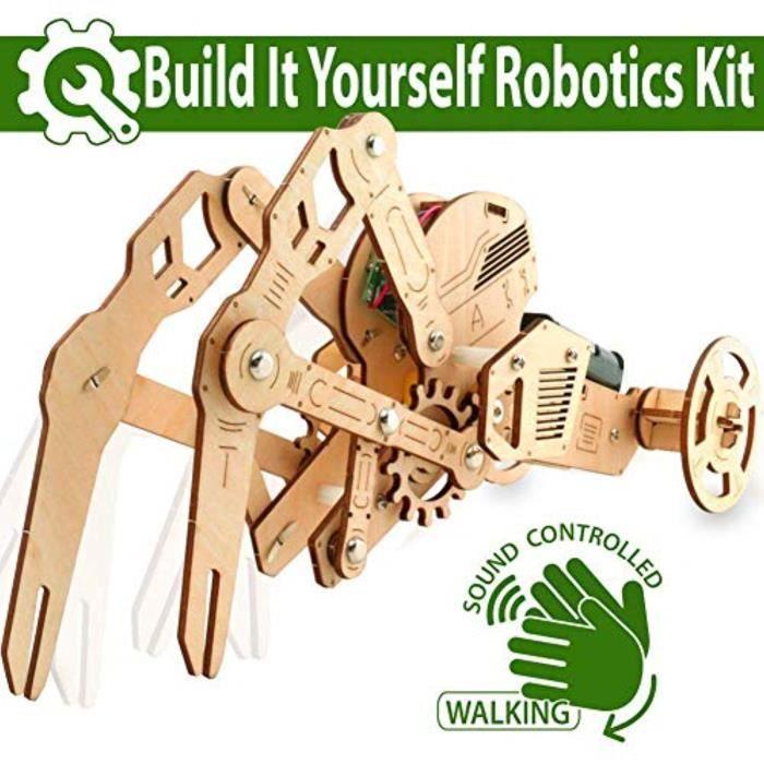 Casse-Tete RXAQN 3D DIY Walking Robot Kit Mechanical Wooden Puzzle Sound Controlled Crawfish Robotics Toy, Wood