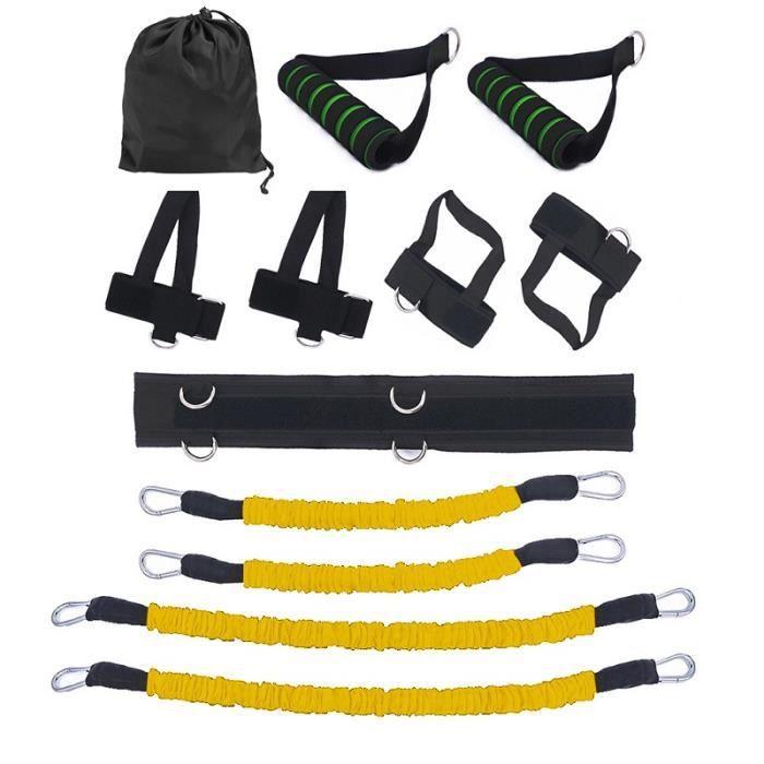 12 pcs-ensemble Bandes de Elastique Résistance pour entraînement de boxe Taille et Jambes exercice fitness Jaune